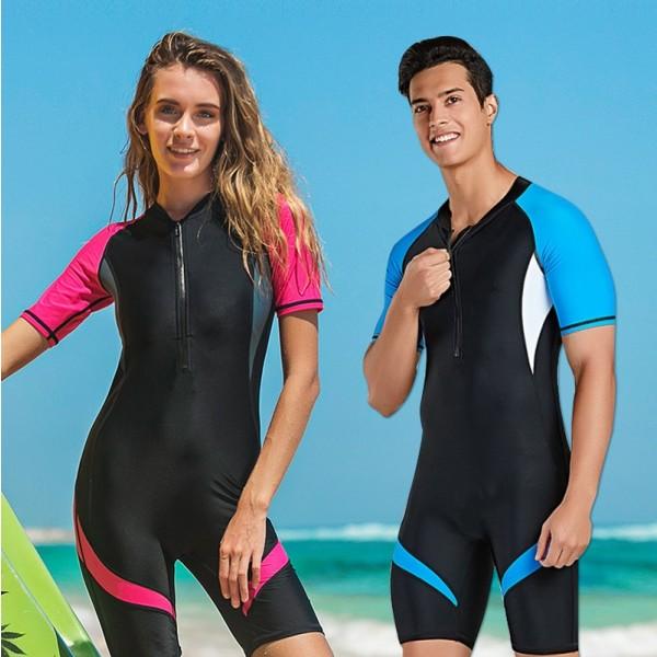 Short Sleeves Womens Surfing Rash Guard Shorty Wetsuit Springsuit