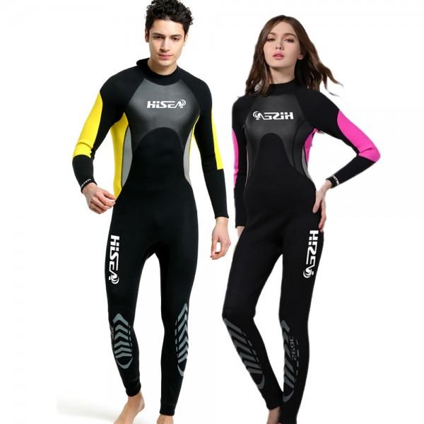 3mm Neoprene Men's  & Women's Wetsuits Back Zip Diving Fullsuit