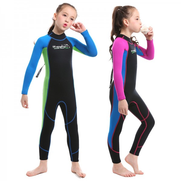 Girls' Full Wetsuit 2MM SCR Neoprene Diving Suit Stretchy Back Zip