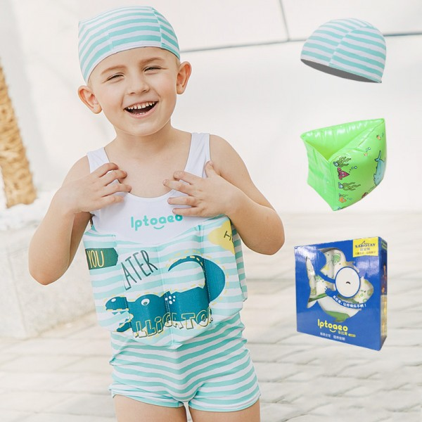 Toddler Swmming Floatsuit Crocodile Swimwear with Arm Floaties