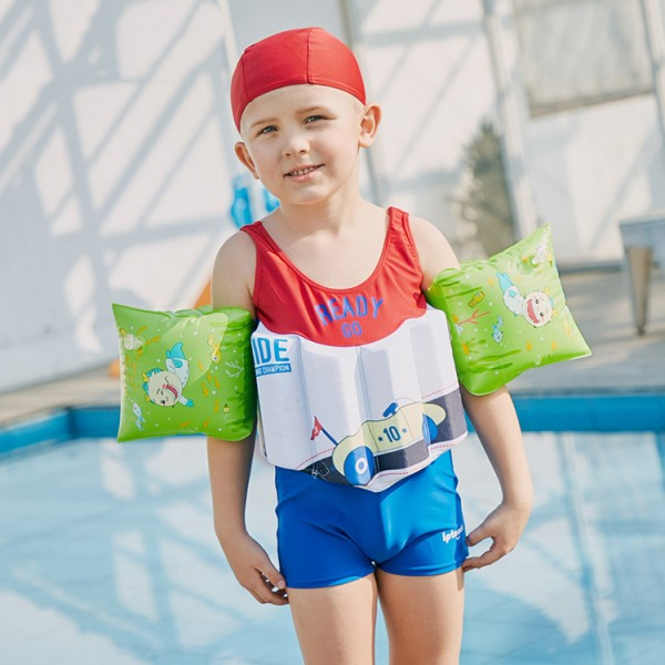 Toddler Swmming Floatsuit Cat Swimwear with Arm Floaties