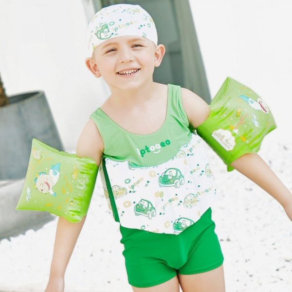 Kids Green Swimwear Float Suit with Arm Floaties for Toddlers & Infant