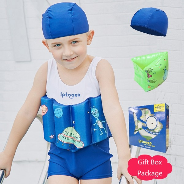 Kids Blue Swimwear Float Suit with Arm Floaties for Toddlers & Infant