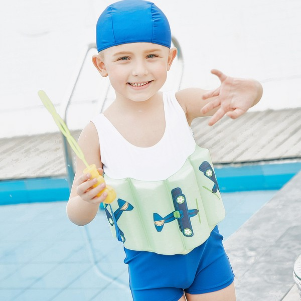 Kids Aircraft Swimwear Float Suit with Arm Floaties for Toddlers & Infant