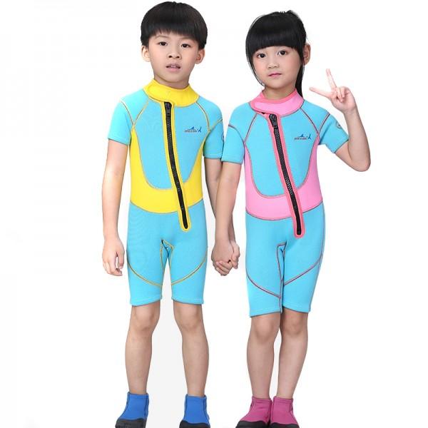 Blue 2.5MM Short Sleeves Diving Wetsuit Springsuit for Kids