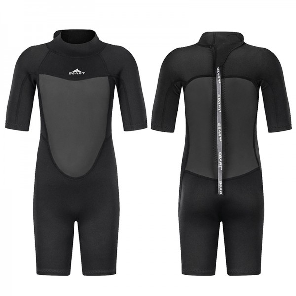 Black Kids Wetsuit 2MM Short Springsuit For Diving Swimwear