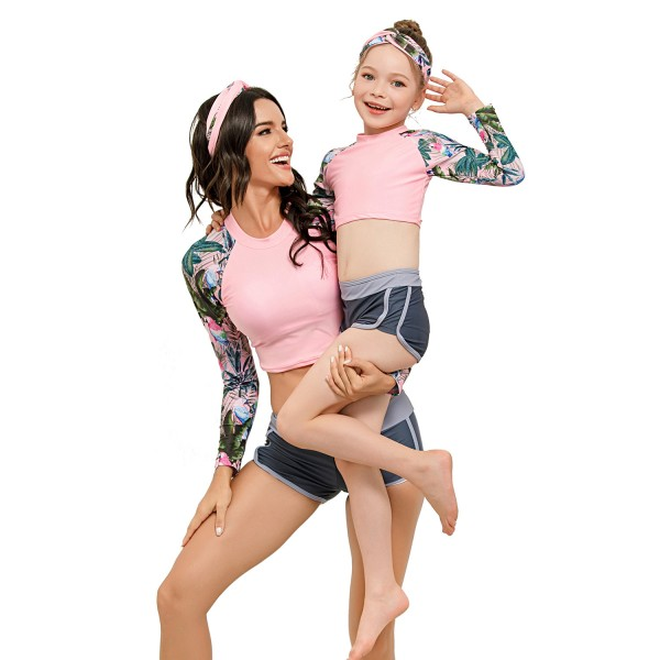 Mom And Daughter Two Pieces Swimsuit Long Sleeve Pink Bathing Suit