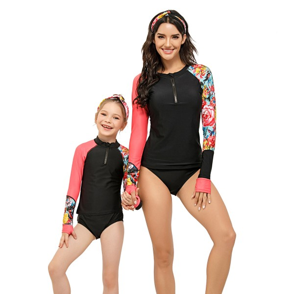 Mom And Daughter Two Pieces Swimsuit Long Sleeve Color Block Bathing Suit
