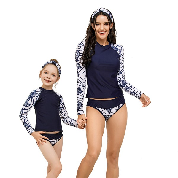 Mom And Daughter Two Pieces Swimsuit Long Sleeve Floral Printed Bathing suit