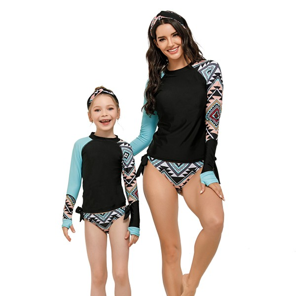 Mom And Daughter Two Pieces Swimsuit Color Block Long Sleeve Bathing suit
