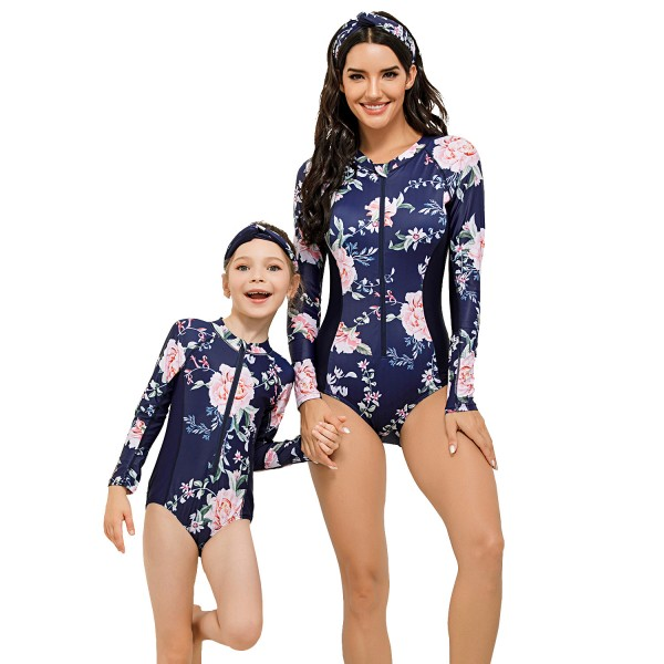 Mother And Daughter One Piece Swimsuit Floral Printed Long Sleeve Bathing Suit