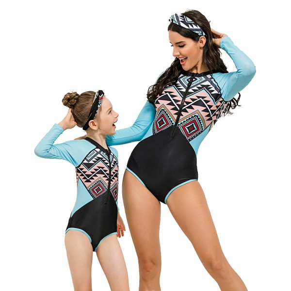Mother And Daughter One Piece Swimsuit Color Block Long Sleeve Bathingsuit