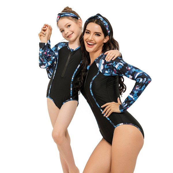 Mommy And Me One Piece Swimsuit Floral Paint Long Sleeve Bathing Suit
