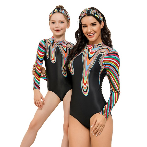 Mother And Daughter One Piece Swimsuit Long Sleeve Rainbow Bathing Suit