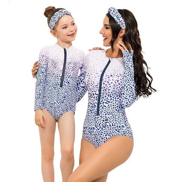 Mom And Daughter One Piece Swimsuit Floral Printed Long Sleeve Springsuit