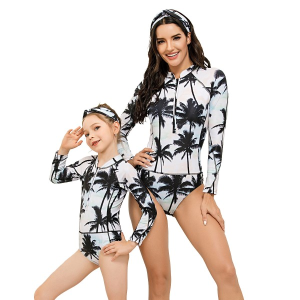 Mom And Daughter One Piece Swimwear Long Sleeve Floral Printed Springsuit