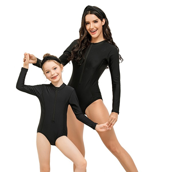 Mommy And Me One Piece Swimwear Black Long Sleeve Springsuit