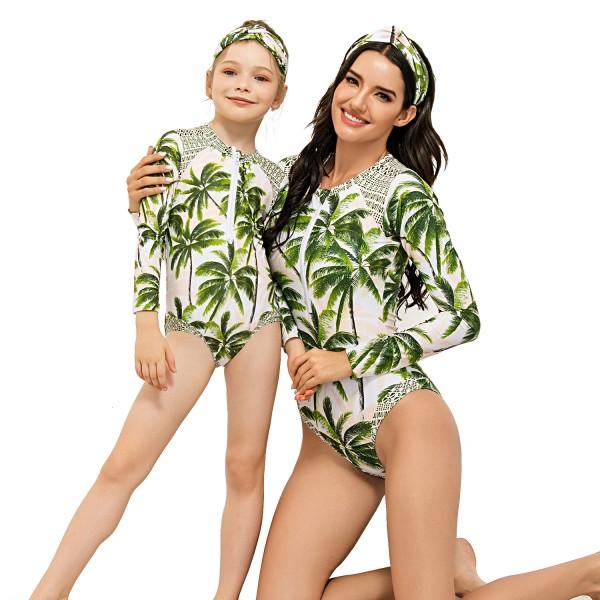 Mom And Daughter One Piece Swimwear Long Sleeves Floral Printed Springsuit