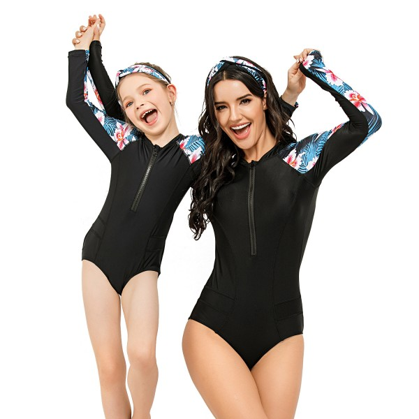 Mom And Daughter One Piece  Bathing Wear Long Sleeve Floral Printed Springsuit