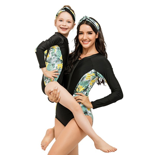 Mother And Daughter Black One Piece  Rash Guard Floral Printed Long Sleeve Swimsuit