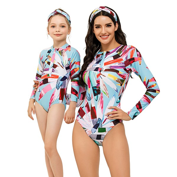 Mother And Daughter One Piece Spring Wear Long Sleeve Color Block Swimsuit