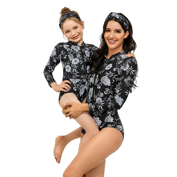 Mommy And Me One Piece Black Swimsuit Long Sleeve Flower Printed Bathing Suit
