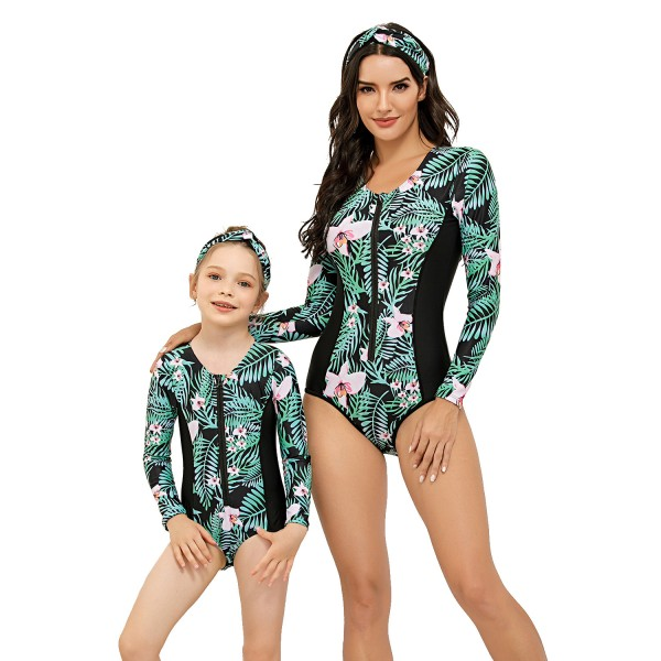 Mommy And Me One Piece Swimsuit Printed Front Long Sleeve Bathing Suit