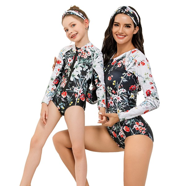 Mother And Daughter One Piece Beach Wear Long Sleeve Springsuit Floral Printed Swim Wear