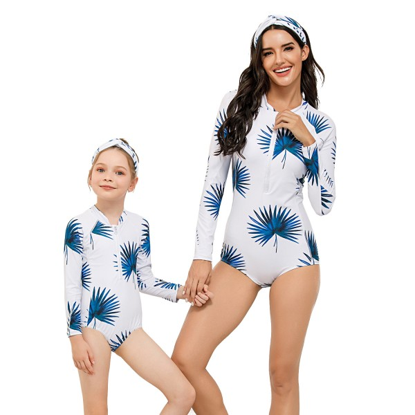 Mom And Daughter One Piece Swimwear Long Sleeve Floral Printed Swim Suit