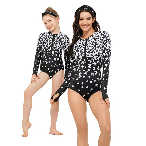 Mommy And Me One Piece Swimwear Butterflies Printed Long Sleeve Swim Suit
