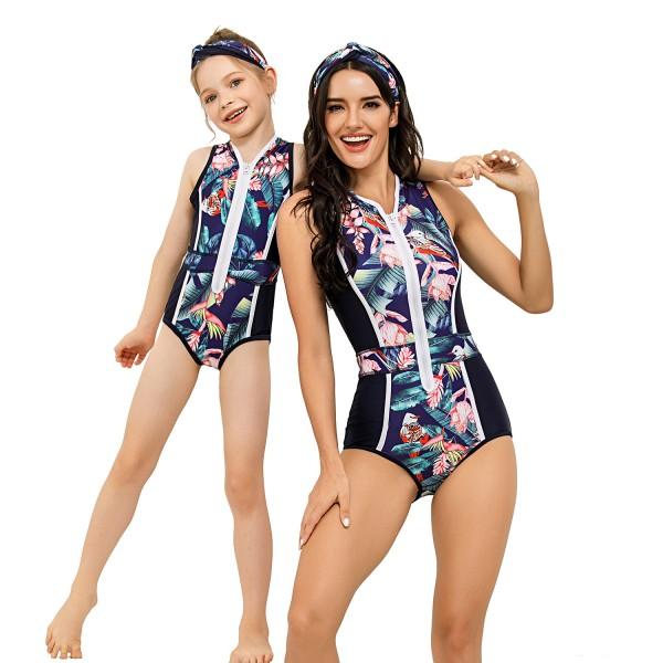 Mom And Girls One Piece Swimwear Sleeveless Floral Printed Swim Suit