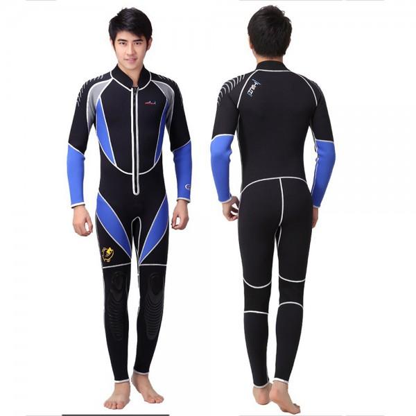 3MM Neoprene Men's Fullsuit Diving Suit Front Zipper Closure Keep Warm Wetsuit