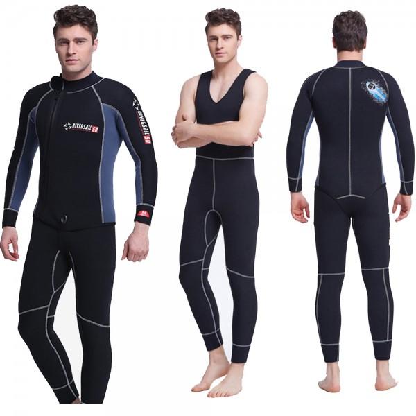 2Pcs Men's 5MM Neoprene Dive Suit Fullsuit Keep Warm Zipper Wetsuit