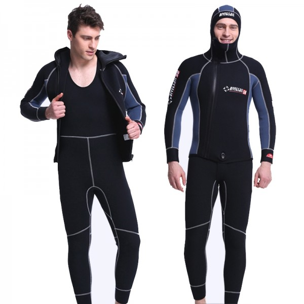 Men's 2Pcs 5MM Neoprene Hooded Fullsuit Diving Suit Keep Warm Zipper Wetsuit