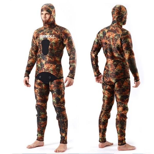 2Pcs 5MM Neoprene Men's Camouflage Hooded Fullsuit Keep Warm Rash Guard Wetsuit Diving Suit