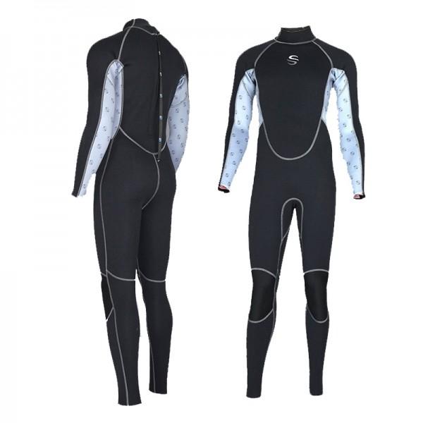 2MM Neoprene Men's Fullsuit Keep Warm Rashguard Colorblock Wetsuit Diving Suit