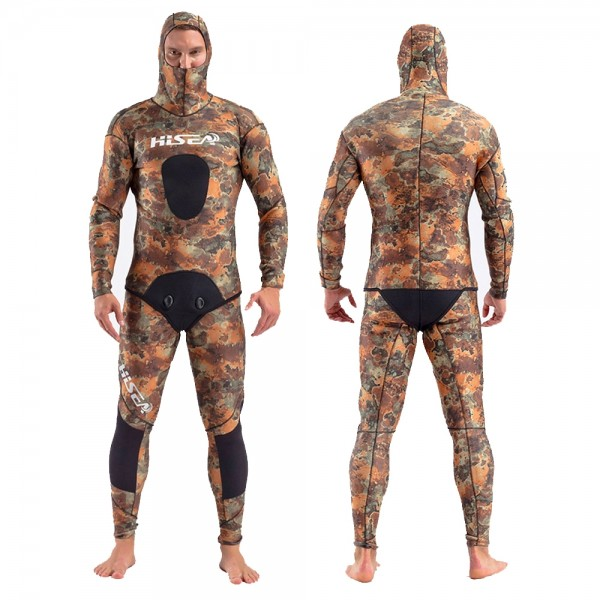 2Pcs 5MM Neoprene Yamamoto Men's Goral Camouflage Hooded Fullsuit Fish Hunting Keep Warm Diving Wetsuit