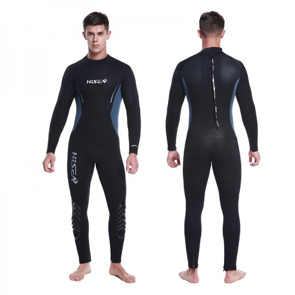 Men's 5MM Neoprene Fullsuit Rash Guard Diving Suit Keep Warm Back Zipper Wetsuit