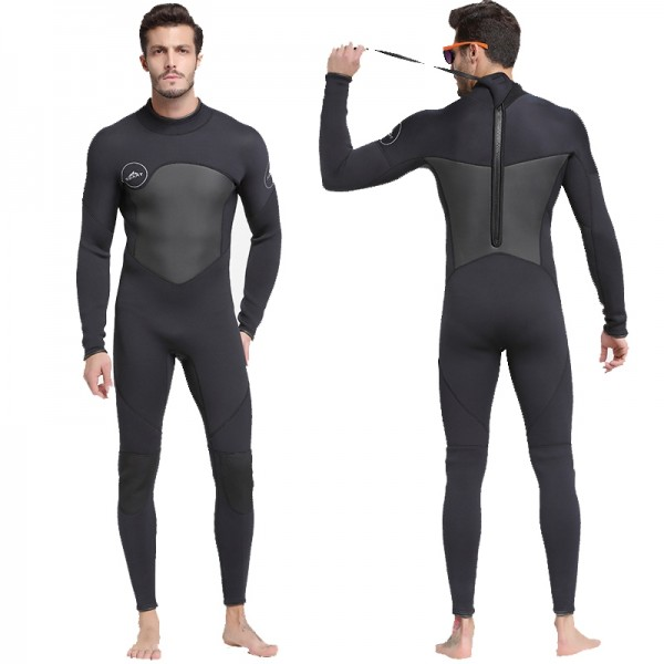 5mm Men's Neoprene Fullsuit Keep Warm Zipper Wetsuit Rash Guard Diving Suit