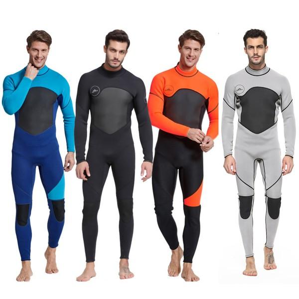 3MM Neoprene Men's Rashguard Diving Suit Fullsuit Back Drawstring Zipper Keep Warm Wetsuit