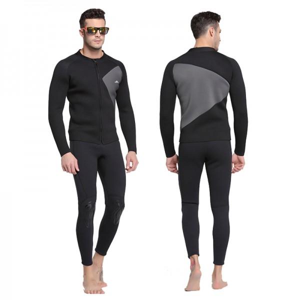 3MM Neoprene Men's Wetsuit 2Pcs Rash Guard Warm Diving Suit Fullsuit Jumpsuits