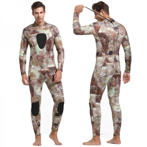 Men's 3MM Neoprene Wetsuit Rash Guard Warm Diving Suit Back Zipper Fullsuit Swimwear