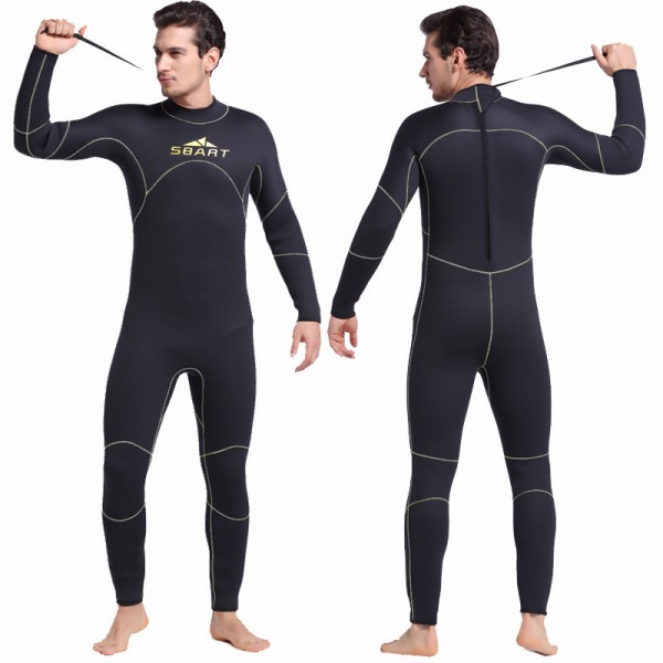 Men's 5MM Neoprene Keep Warm Wetsuit Back Zip Diving Suit Fullsuit Swimwear