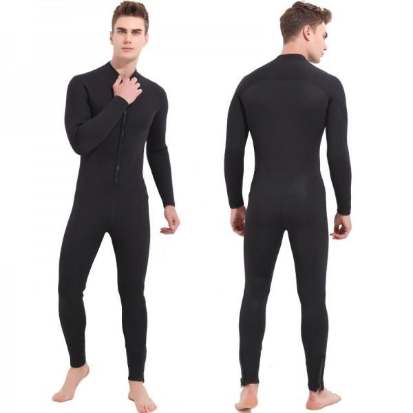 Men's 5MM Neoprene Keep Warm Rash Guard Wetsuit Front Zip Diving Suit Fullsuit Swimwear