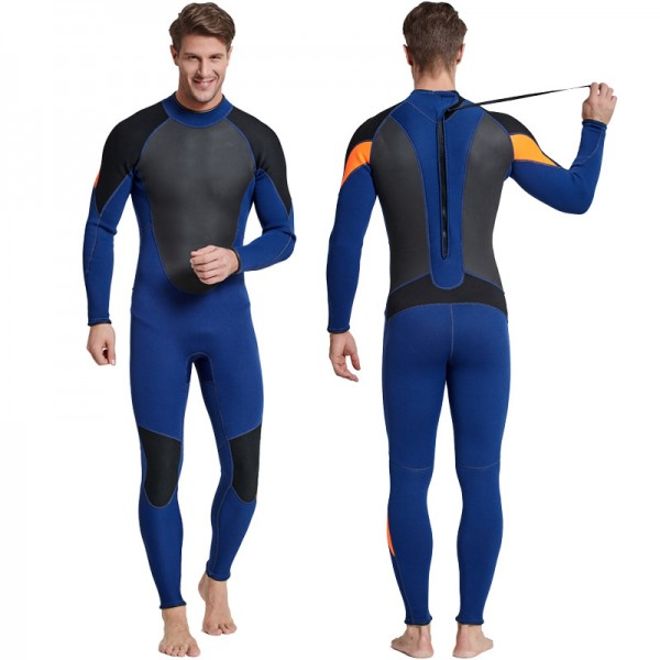 3MM Neoprene Men's Warm Rash Guard Wetsuit Back Zip Diving Suit Fullsuit Swimwear