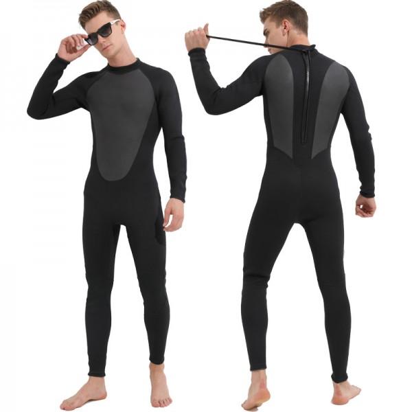 Men's 3MM SCR Neoprene Rash Guard Wetsuit Keep Warm Back Zip Diving Suit Fullsuit Swimwear