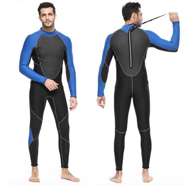 3MM SCR Neoprene Men's Rash Guard Full Wetsuit Warm Back Zip Diving Suit Swimwear