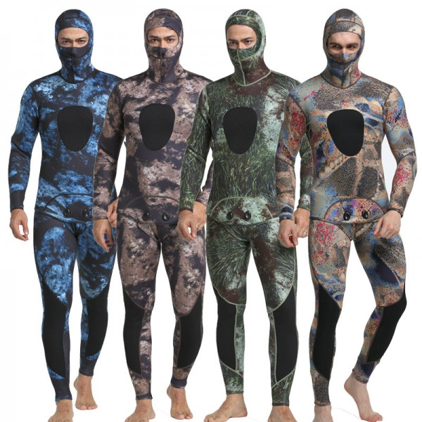 3MM SCR Neoprene Men's Hooded Wetsuit Two Pieces Warm Camouflage Surfing Diving Suit Jumpsuit