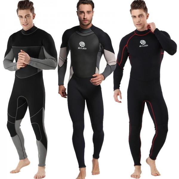 Colorblock Men's 3MM SCR Neoprene Warm Wetsuit Rash Guard Diving Suit Jumpsuit Fullsuit
