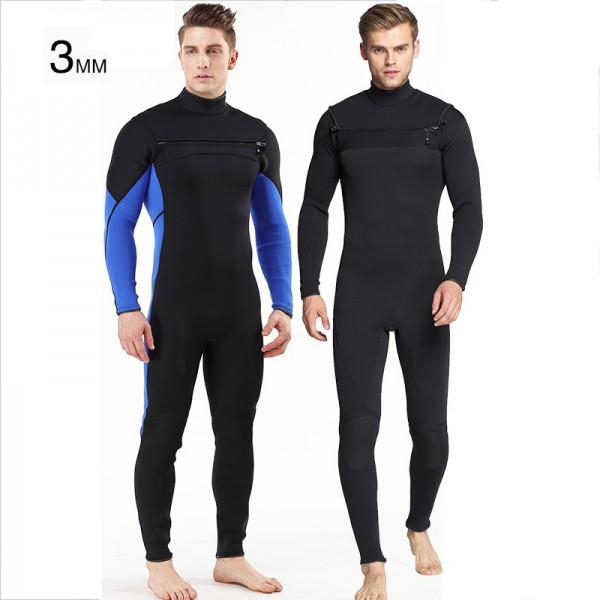 3MM SCR Neoprene Front Zip Warm Wetsuit Waterproof Rash Guard Diving Suit Jumpsuit Fullsuit For Men